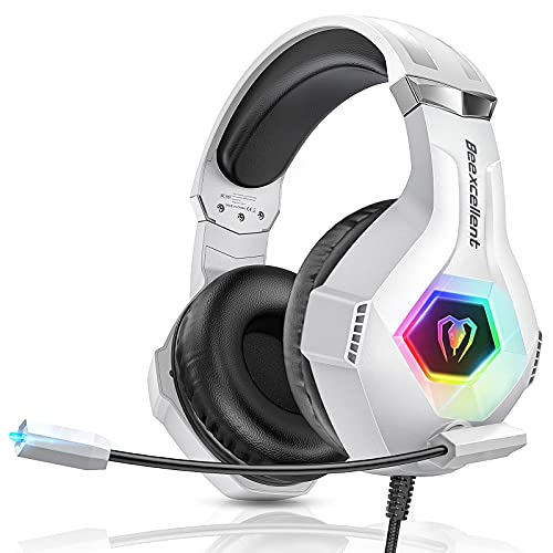 Beexcellent Casque Gaming PS4, Casque Gamer per PS4 Xbox One PS5 RGB Audio Stéréo Anti-Bruit Réglable Micro Compatible PC Mac White