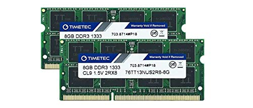 Timetec Hynix IC 16GB Kit (2x8GB) DDR3 1333MHz PC3-10600 Unbuffered Non-ECC 1.5V CL9 2Rx8 Dual Rank 204 Pin SODIMM Ordinateur Portable Mémoire RAM Module Upgrade (16GB Kit (2x8GB))