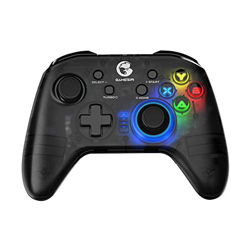 Manette sans Fil Bluetooth GameSir T4 Pro pour Switch, Manette Switch Pro avec rétroéclairage LED, Joystick Turbo Gamepad avec Moteur Double, Manette de Jeu programmable pour iPhone/Android/PC