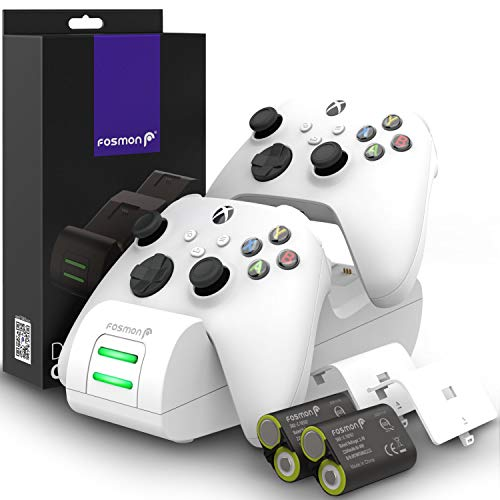 Fosmon Dual 2 Max Chargeur Compatible avec Manette Xbox Series X/S (2020), Xbox One/One X/One S Elite Controllers, (Two Slot) Docking Station avec 2X 2200mAh Batteries Rechargeables - Blanc