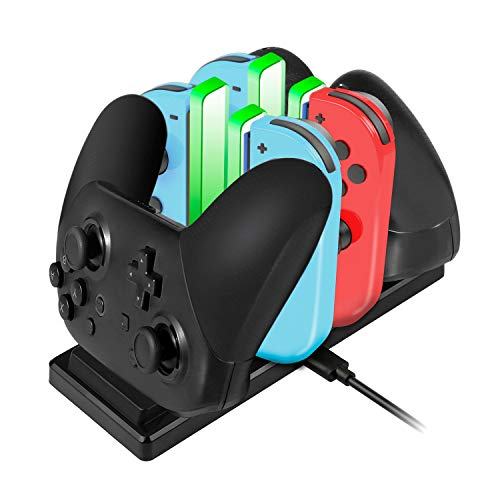 EXTSUD 6 en 1 Chargeur pour Nintendo Switch Manette Pro et Joy-Con Station de Charge Dock avec 4 Slots, Câble USB Type C et Indicateur de Charge LED