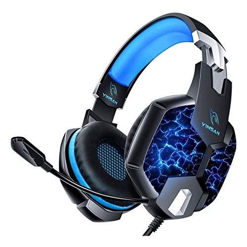 YINSAN TM5, Casque PS4 Gaming, Casque Gamer Xbox One avec Microphone Réglable Anti Bruit, Casque Gaming avec RGB LED Lampe Stéréo Basse pour PS4, Xbox One, Switch, PC, Laptop, Tablette, Blue