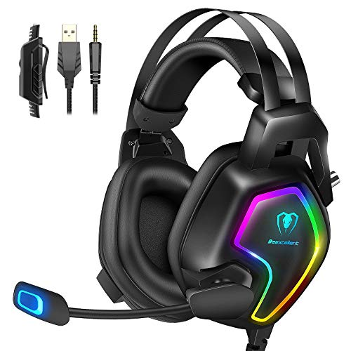 Casque Gaming PS4, Casque Gamer Pro Lightsync RVB pour PC Ultra-Léger...